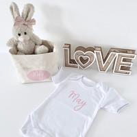 Geschenkset met beige konijntje