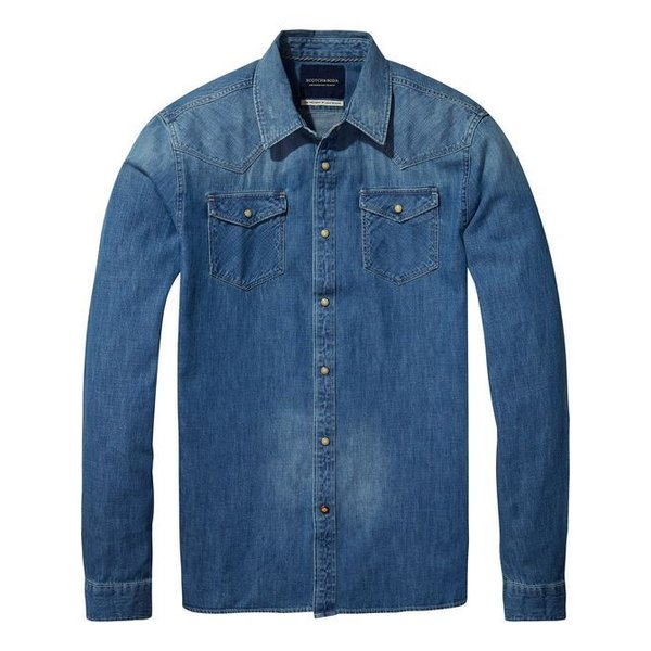 Ams Blauw Classic Western Shirt in Regular Fit