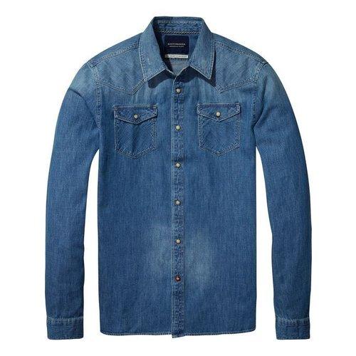 Scotch-Soda Ams Blauw Classic Western Shirt in Regular Fit