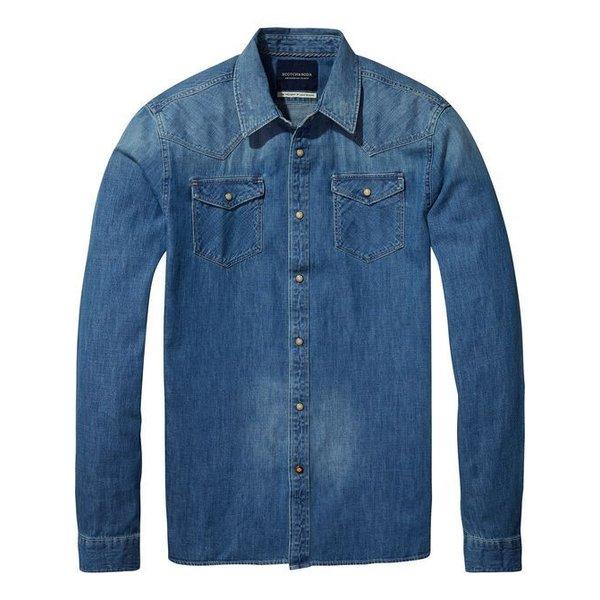 Ams Blauw Classic Western Shirt in Regular Fit