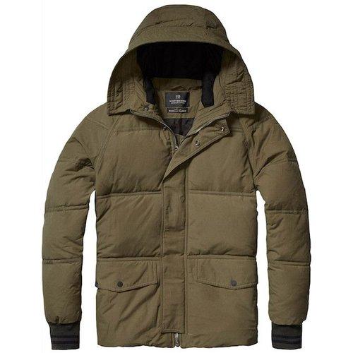 Scotch-Soda Hooded Down Jacket with Raglan Sleeves