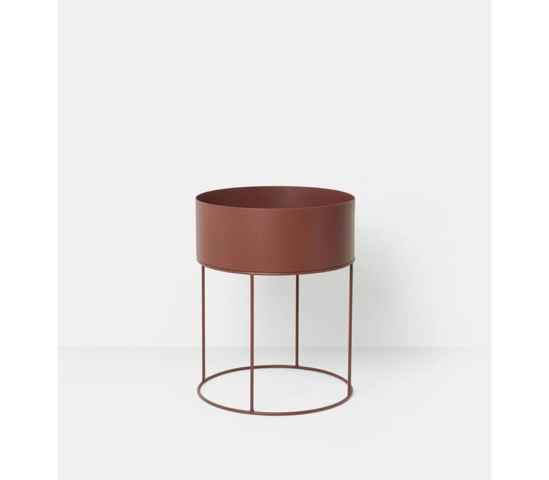 Plant Box Round - Red Brown