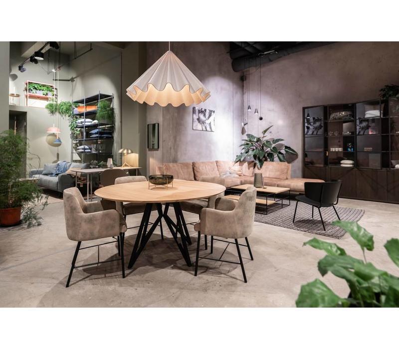 Studio HENK Butterfly Eettafel Rond Zwart Frame Verjongd Blad