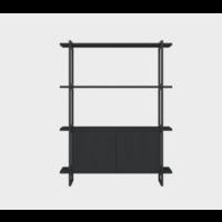 Studio HENK MC-4L Modulaire Wandkast Zwart Frame / Zwart Eiken