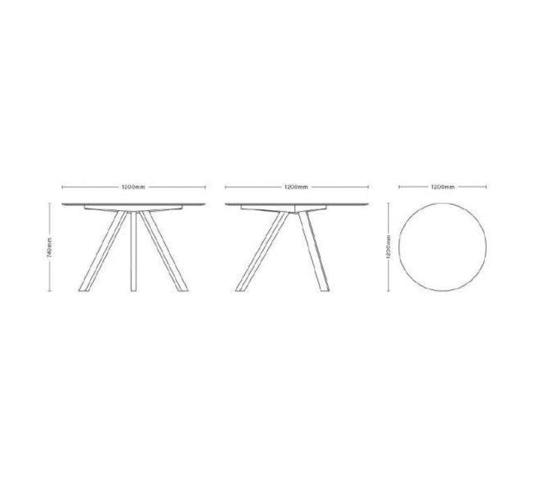 HAY CPH 20 Eettafel Rond (Ø) 120 cm Linoleum Met Matt Eiken Onderstel
