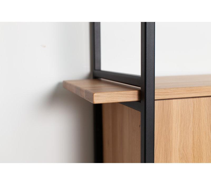 Studio HENK Modulaire Wandkast MC-6L Zwart Frame Natural Light Hardwax Planken