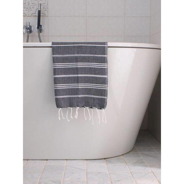 hammam handdoek Ottomania 50x100cm zwart - kleine hamamdoek