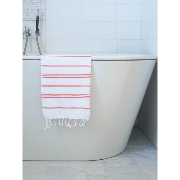 hammam handdoek Ottomania 50x100cm koraalrood - kleine hamamdoek