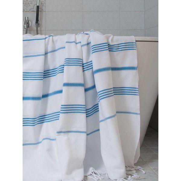 hamamdoek Ottomania 160 x 220cm helderblauw - tweepersoons xxl hamamdoek