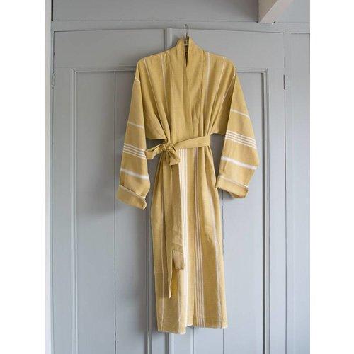 Ottomania badjas kimono kraag mosterd