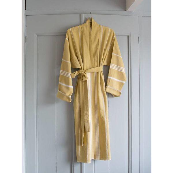 badjas kimono kraag mosterd