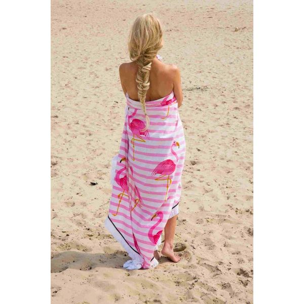 Rond strandlaken Call it Fouta! Gypsy Flamingo pink fringe