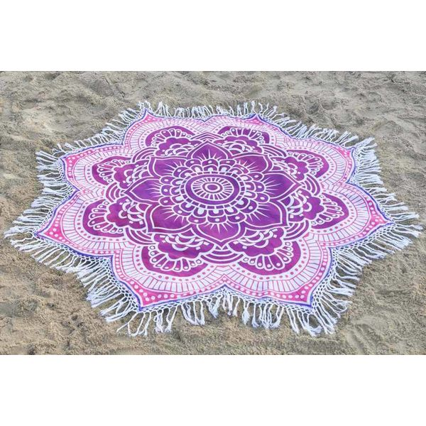 Rond strandlaken Call it Fouta! Gypsy Star flower purple pink