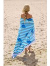 Rond strandlaken Call it Fouta! Gypsy Flamingo blue fringe
