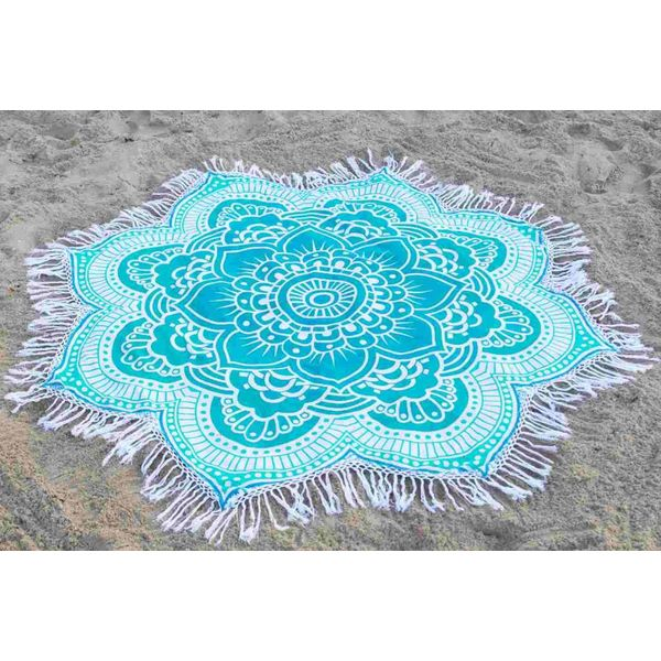 Rond strandlaken Call it Fouta! Gypsy Star flower green turquoise