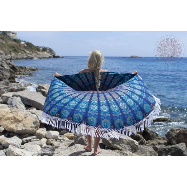 Rond strandlaken Call it Fouta! Gypsy Peacock turquoise