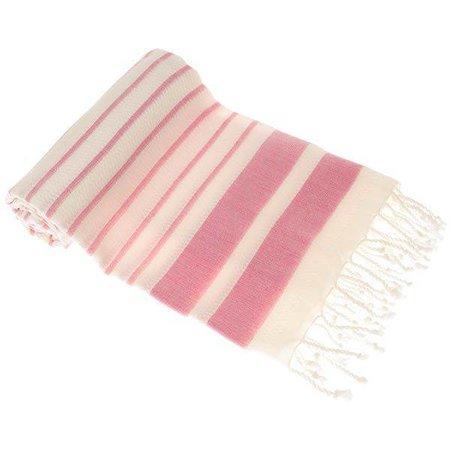 Hamams Own Sneldrogende handdoek: hamamdoek Aqua Streeps Pink