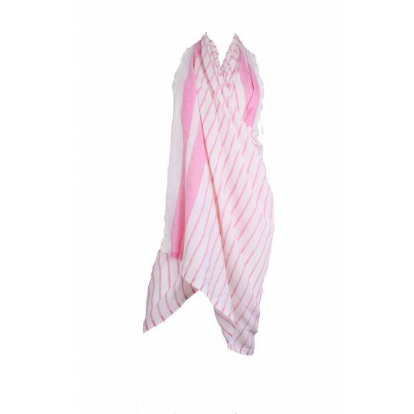 Sneldrogende handdoek: hamamdoek Aqua Streeps Pink