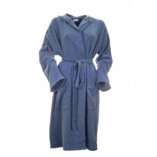 katoenen sauna badjas met capuchon blauw
