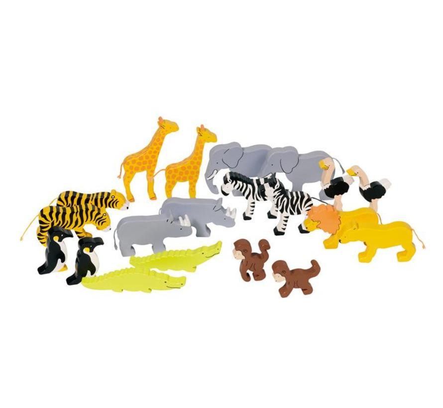 Dieren Afrika Hout 20-delig