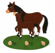Weizenkorn Kapstok Paard met Veulen Hout