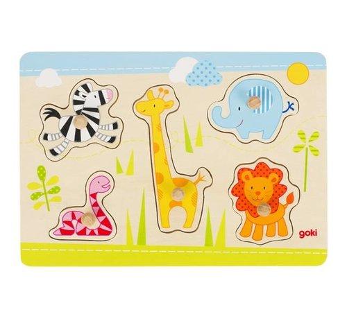 GOKI Puzzel Dieren Safari Hout