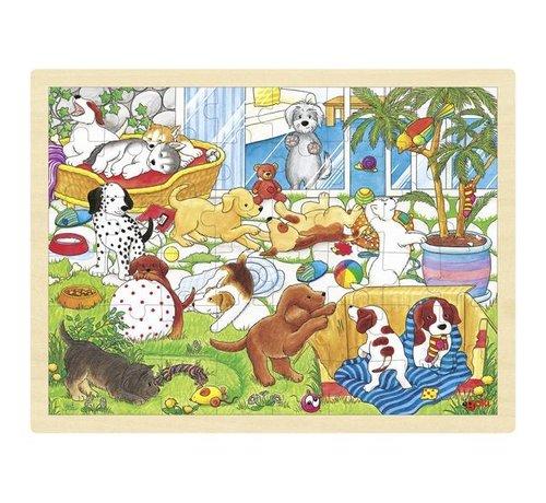 GOKI Puzzel Honden Puppy School Hout