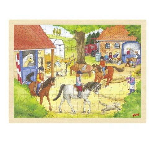 GOKI Puzzel Ponyboerderij Manege Hout