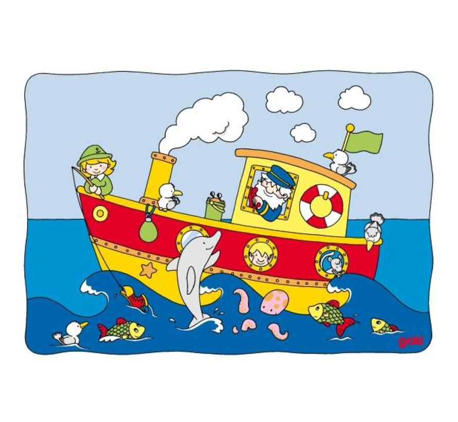 Puzzel Schuif Boot Vissen Hout