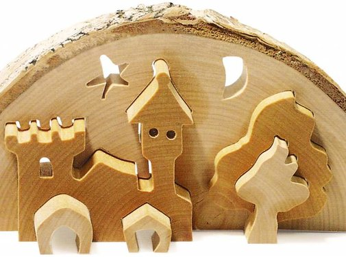 Small Foot Theelichthouder 3D Slot Kerst Hout