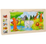 Small Foot Puzzel Safari Dieren Box 5-delig Hout