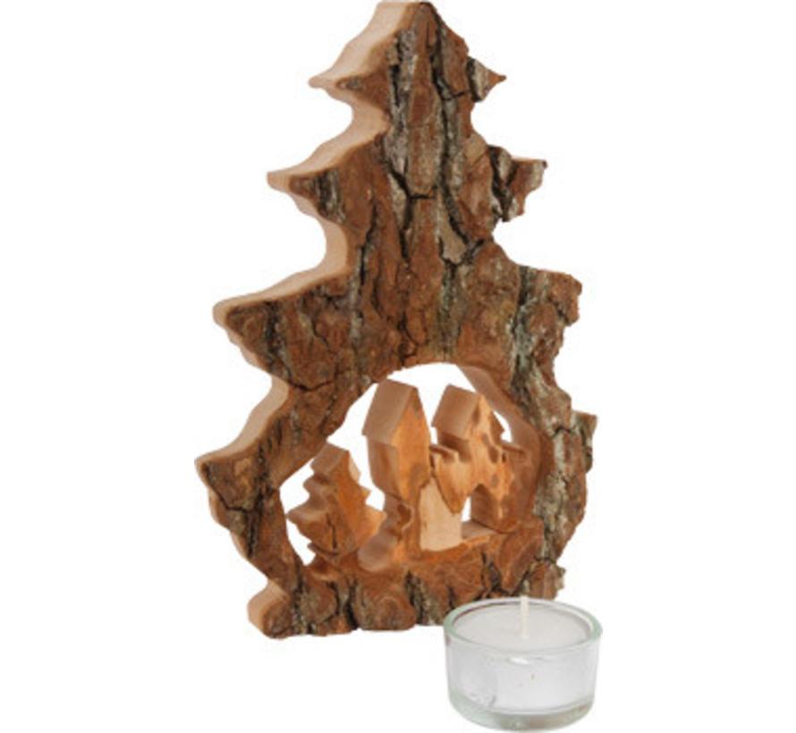 Boomschors Waxinelichtje Deco Kerst Hout