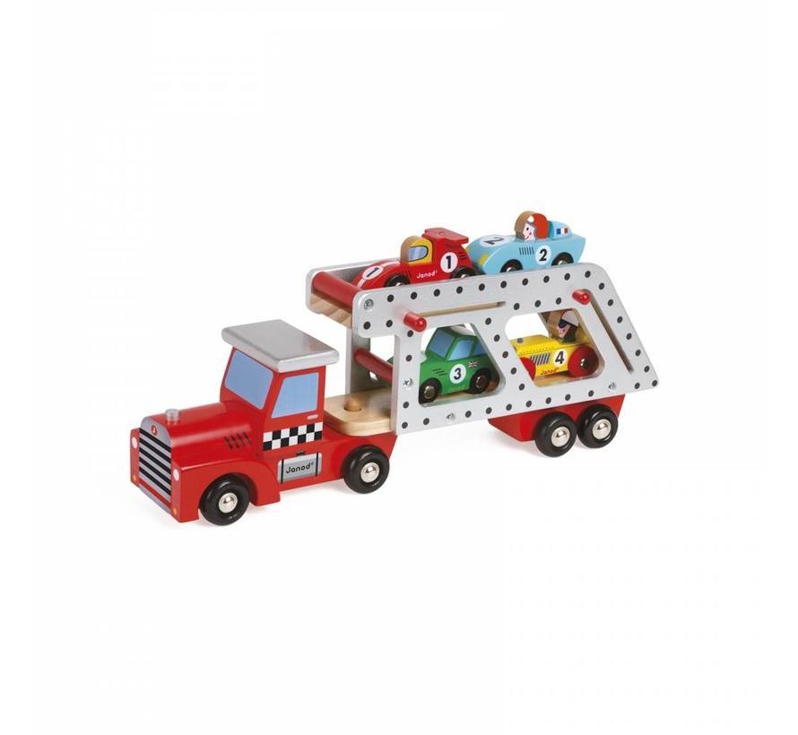 Vrachtwagen met Racewagens Story Hout