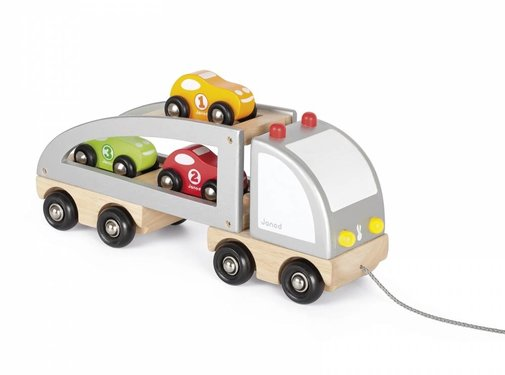 Janod Trekfiguur Vrachtwagen met 3 Racewagens