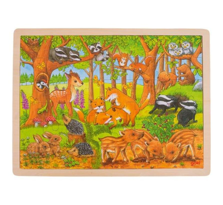 Puzzel Baby Dieren Bos Hout