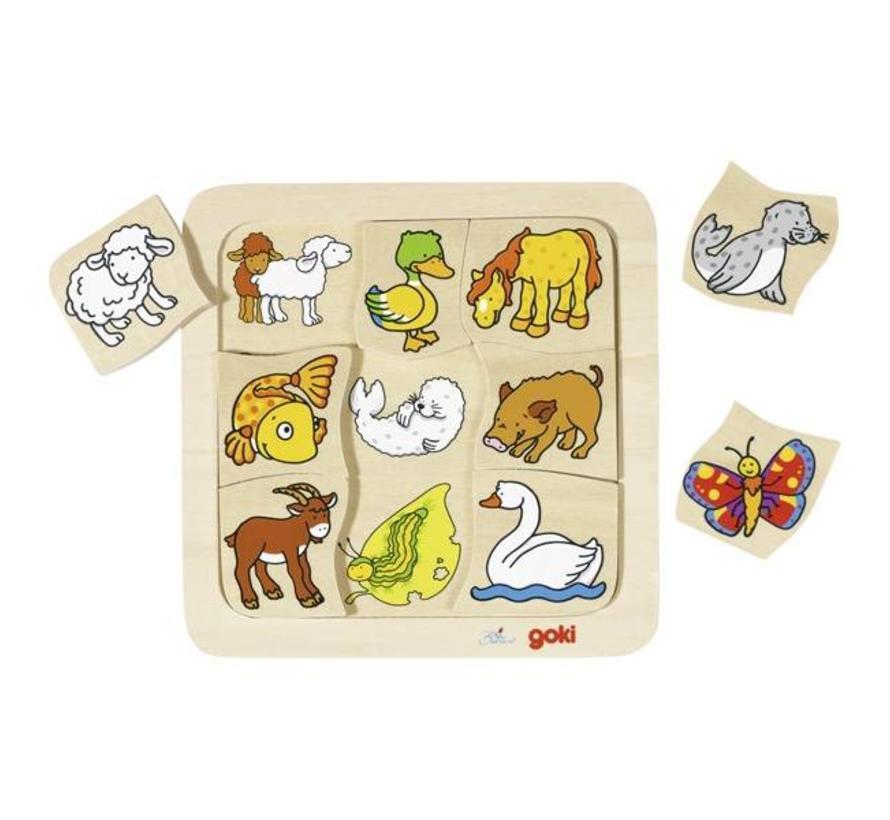 Puzzel Dieren en hun Jongen Hout 9 pcs