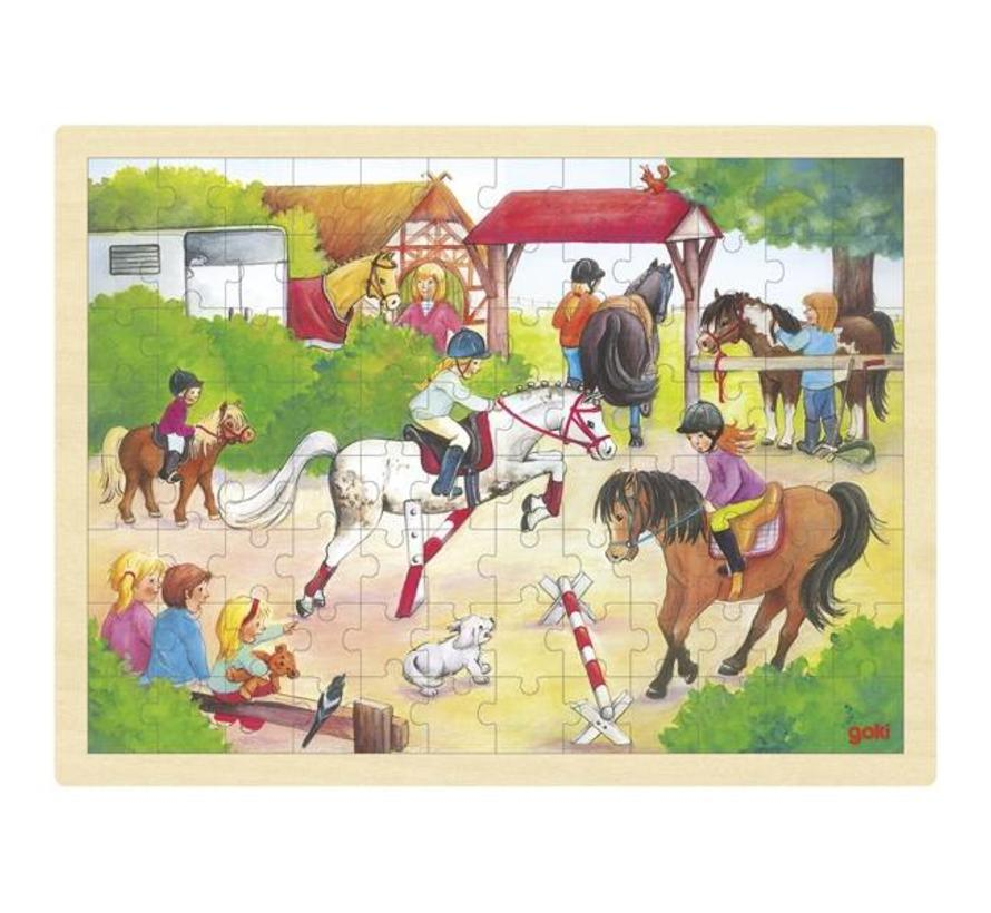 Puzzel Paarden Jumping Hout