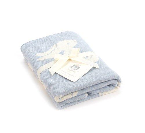 Jellycat Deken Blue Bashful Bunny Blanket