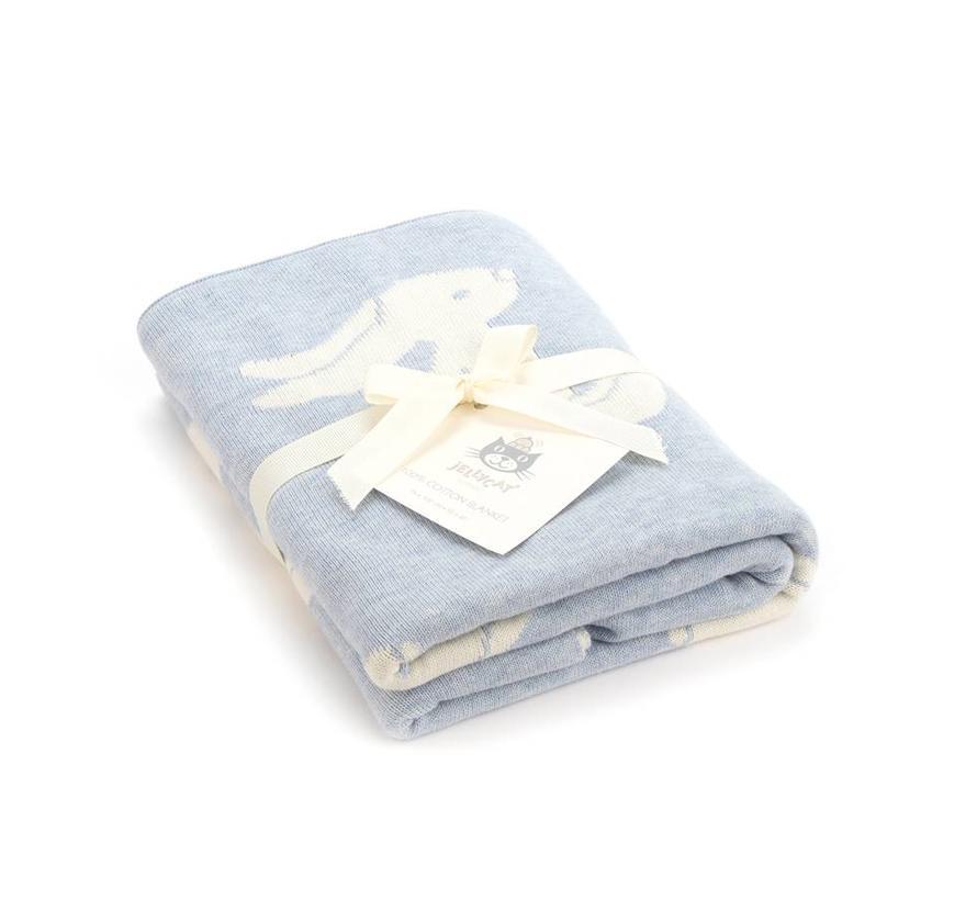 Deken Blue Bashful Bunny Blanket