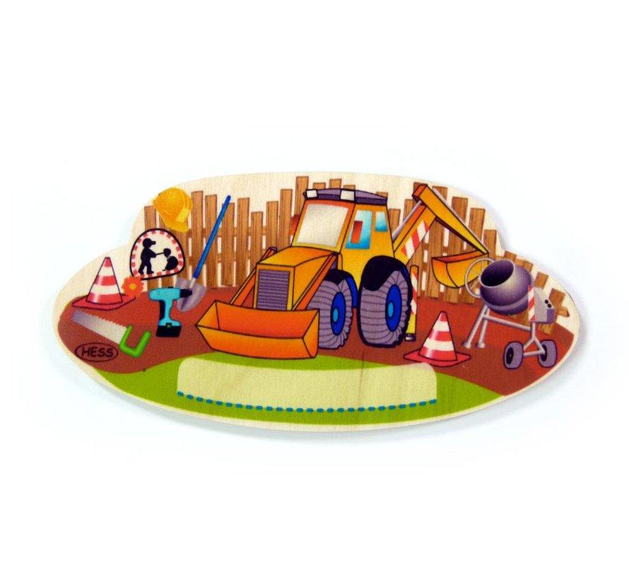 Naambord Kinderkamer Bouwplaats Hout