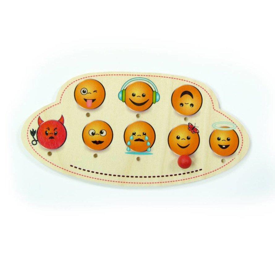 Naambord Kinderkamer Emojis Hout