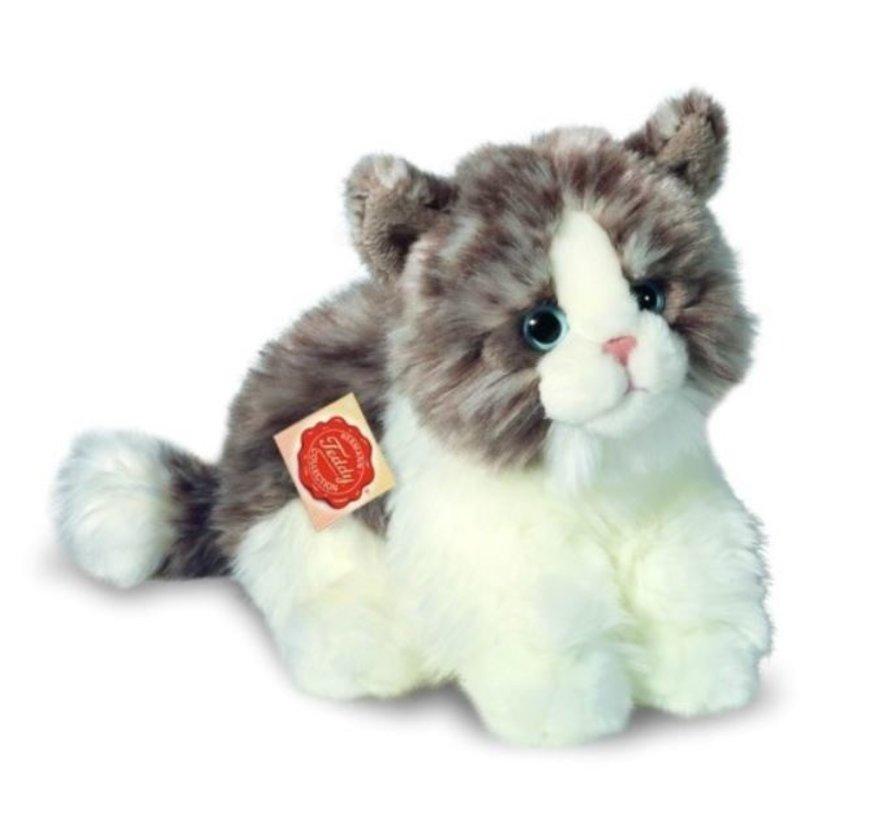 Knuffel Kat Grijs Wit