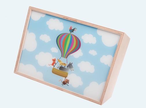 Limundo Wandlamp Rechthoekig Luchtballon Beuken Hout