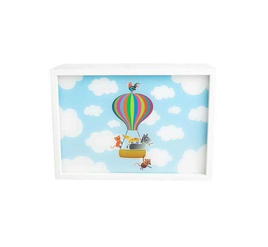 Wandlamp Rechthoekig Luchtballon Wit Hout