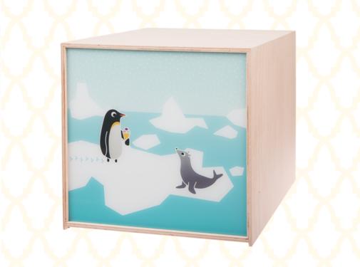 Limundo Kubuslamp Pinguïn Beuken Hout