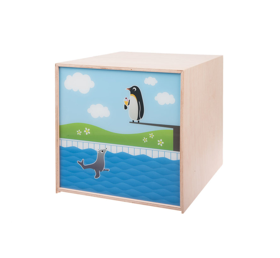 Kubuslamp Pinguïn Beuken Hout