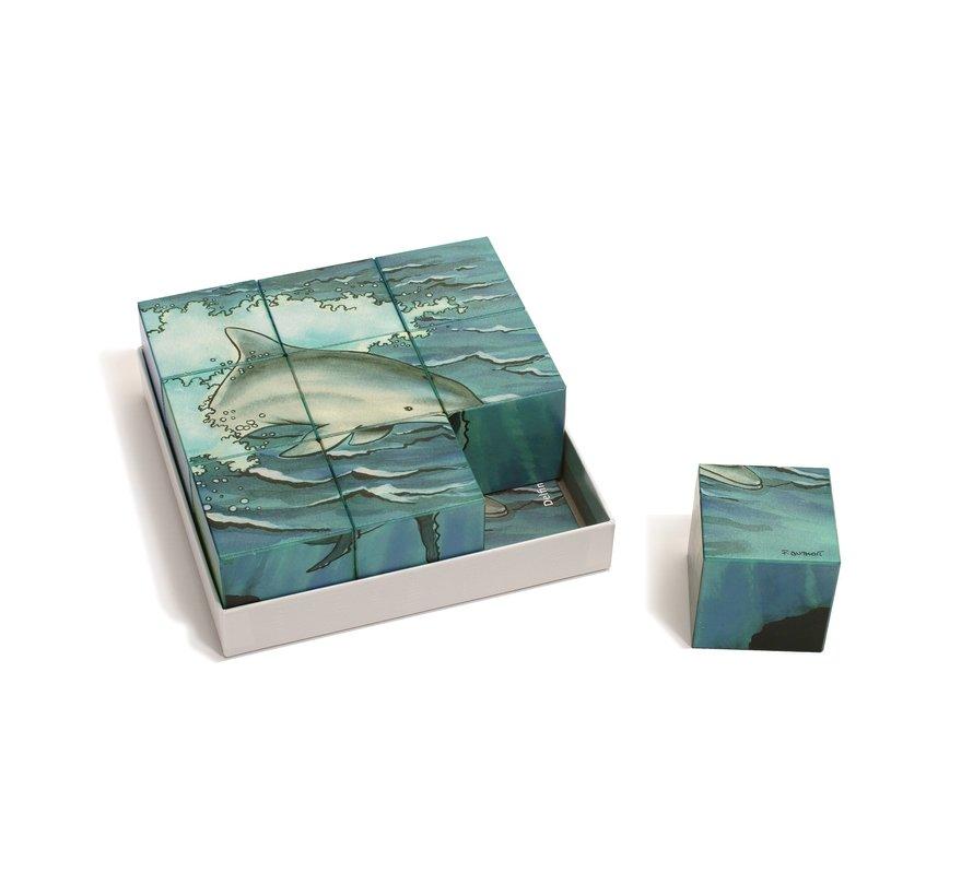 Blokkenpuzzel Zeedieren Hout