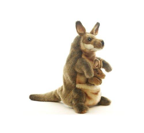 Hansa Knuffel Handpop Kangoeroe met Baby