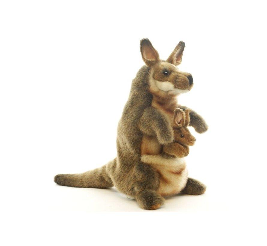 Knuffel Handpop Kangoeroe met Baby
