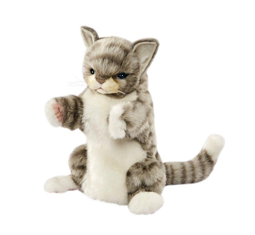 Knuffel Handpop Kat Grijs